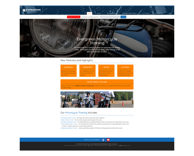 Evergreen Motorcycle Training website.